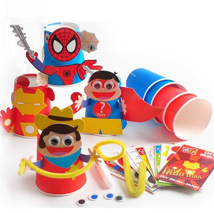 Kindergarten Lots Arts Crafts Diy Toys Iron Man Spiderman Diy Cup Crafts Kids Educational For Children's Toys Girl/boy Gift
