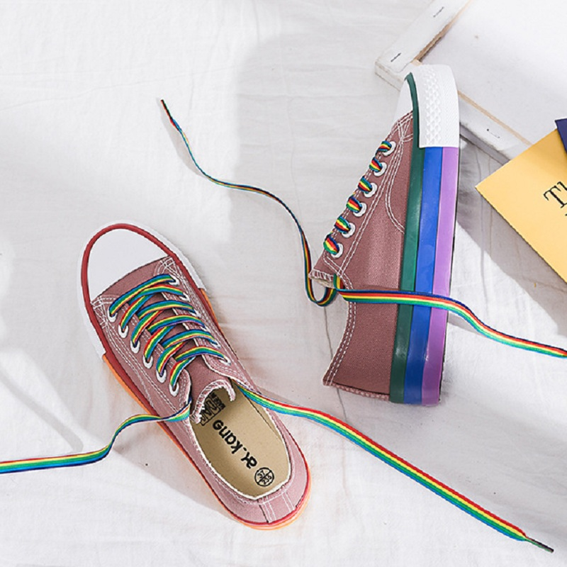 Image 5 - SWYIVY Rainbow White Shoes Woman Canvas Sneakers With Color Lace 2020 Spring New Female Casual Sneakers Platform Shoes WhiteWomens Vulcanize Shoes   -