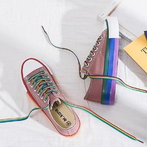Image 5 - SWYIVY gökkuşağı beyaz ayakkabı kadın kanvas sneaker renk dantel 2020 bahar yeni kadın gündelik ayakkabı Platform ayakkabılar beyaz