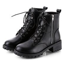 Botas de moto para mujer botas de Otoño de combate Vintage Punk gótico botas de Invierno para mujer botas cortas de cuero PU para motociclista # L10