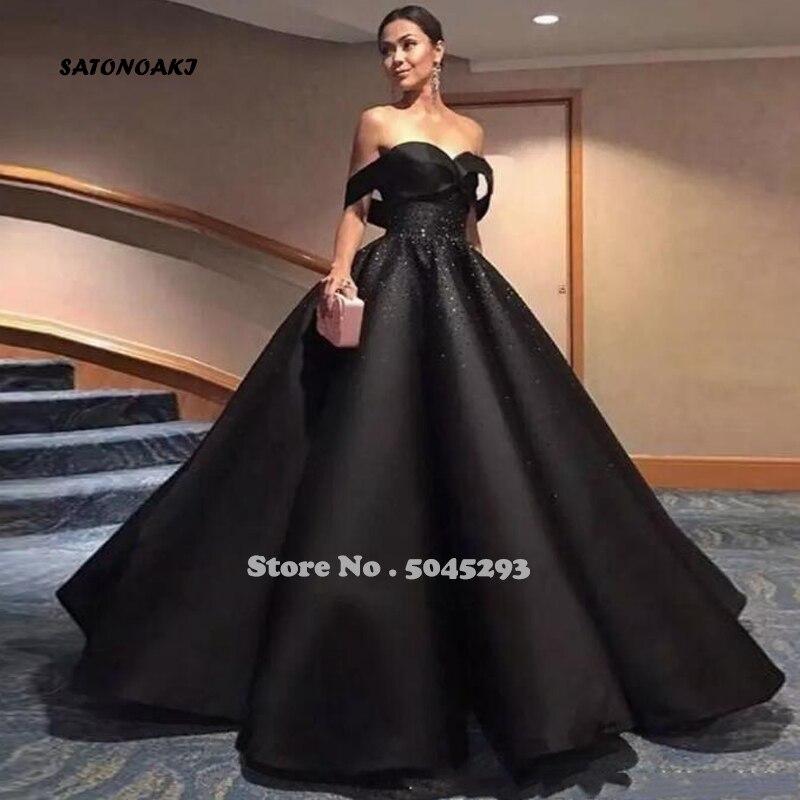 SATONOAKI élégant noir arabe robes de soirée formelles 2019 hors de l'épaule perles une ligne Satin robes de bal robes de célébrité