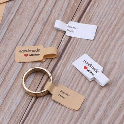 100Pcs Handmade Paper Necklace Ring 14K S925 Stickers Jewelry Price Display Card