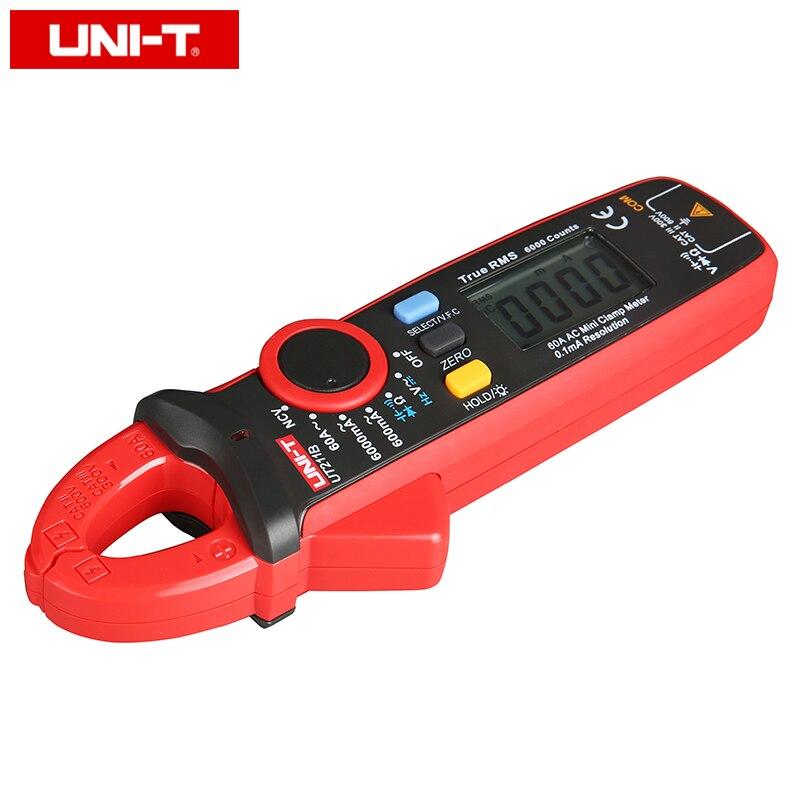 UNI T UT211B Misuratori digitali a pinza mini AC / DC 60A; Amperometro True RMS, V.F.C./NCV/ Test resistenza / capacità, retroilluminazione LCD - 3