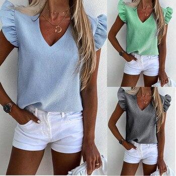 2020 New Stylish Women Stripe Print V-Neck Short Sleeve Shirts Summer Butterfly Sleeve Shirt Lady El