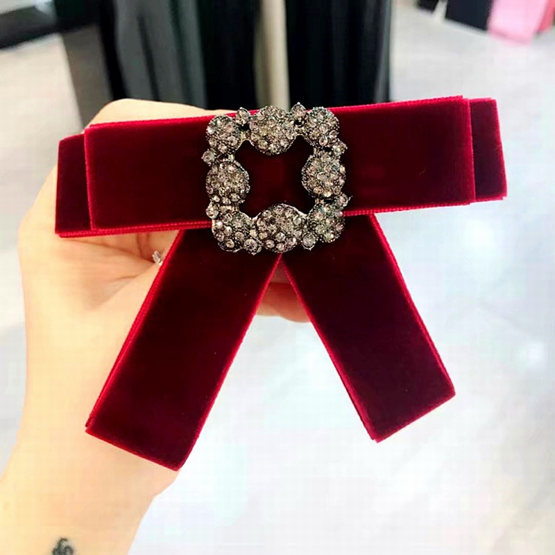 Korean Girl Simple Square Rhinestone Red Black Velvet Bow Tie For Women Fashion Suit Clothes Shirt Collar Accessories