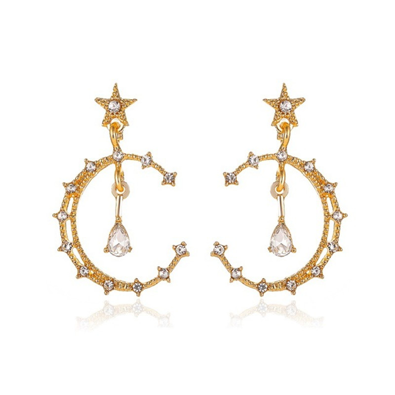 Hollowing out Star Moon Ear Rings For Women Fashion Temperament Exaggeration Long Earrings Drop Earrings jewelry Gift jewellery