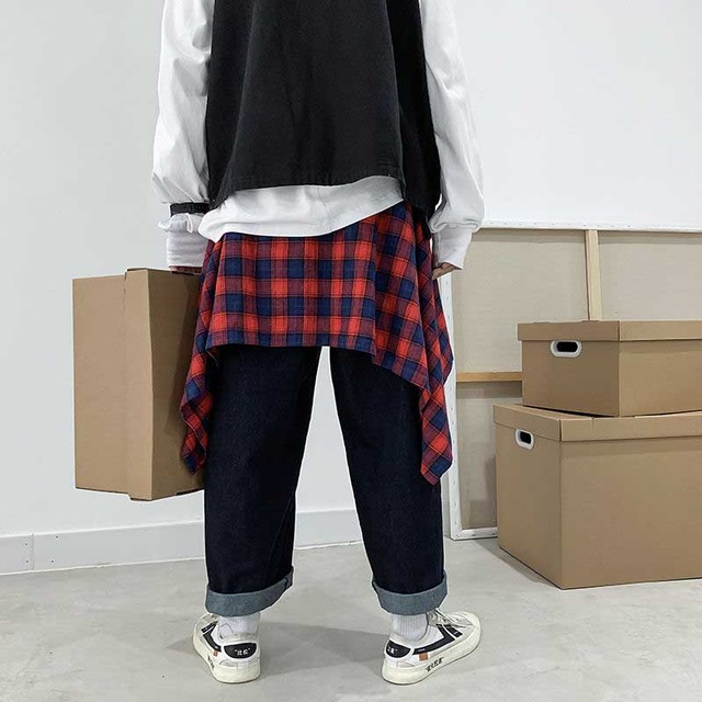 NiceMix New Plaid women's Hip Skirt 2019 New Fashion Waist Band Asymmetrical Cut Skirt for Men/women Street Dance Skirts plaid 4