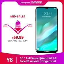 """متوفر DOOGEE Y8 أندرويد 9.0 هاتف ذكي 3GB RAM 32 GB ROM 6.1 """"FHD 19:9 عرض 3400mAh MTK6739 4G LTE هاتف محمول"""