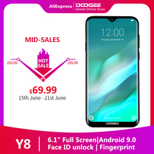 "In stock DOOGEE Y8 Android 9.0 Smartphone 3GB RAM 32 GB ROM 6.1""FHD 19:9 Display 3400mAh MTK6739 4G LTE Mobile Phone"