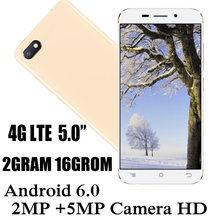 Telefones celulares 4g lte 2g ram 16g rom quad core a90 celulares 2mp + 5mp frente/câmera traseira 5.0 polegada celular android 6.0 telefone
