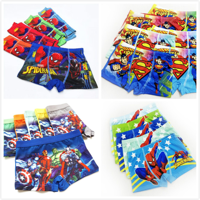 4pcs/lot New Boys Underwear Boxers Underpants Kids Cartoon Panties Panty Briefs Infant Teenagers