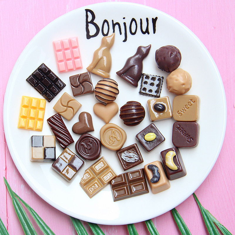 10Pcs Simlation Chocolate Flatback Resin Cabochon Flat Back Kawaii Miniature Fake Food For Phone Decoration DIY Scrapbook Craft