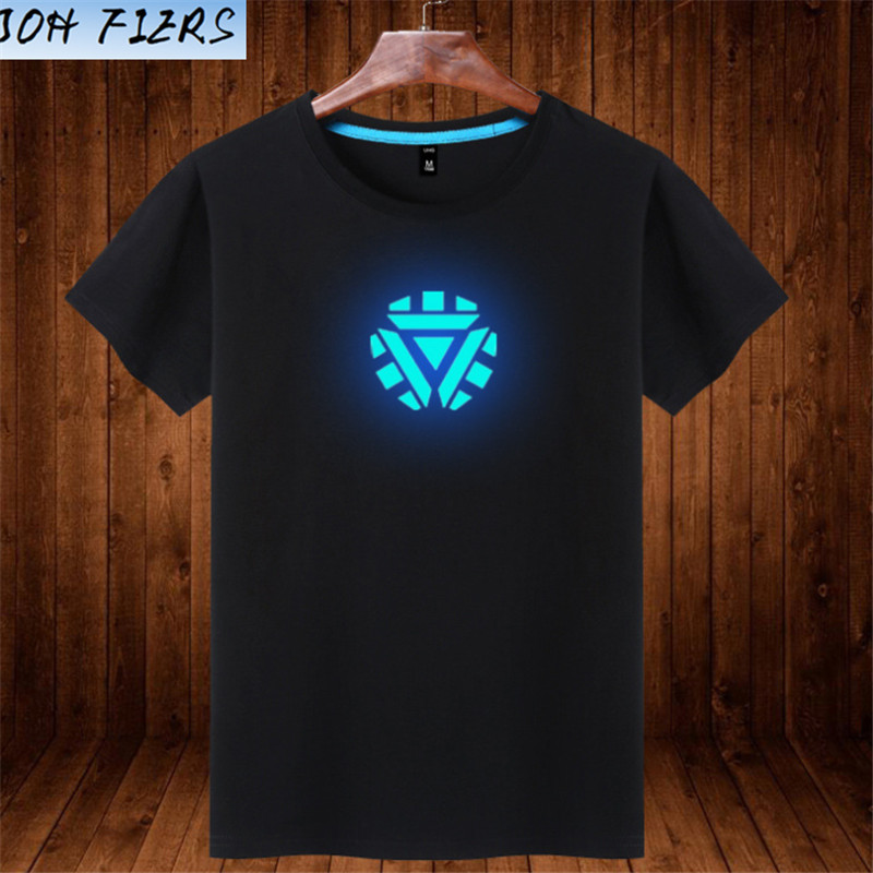 Free Shipping Fashion Reflece Light T-shirt Superman Tshirt Iron Man Shirt Men Glow In Dark Fluorescent Shirt Luminous In Night