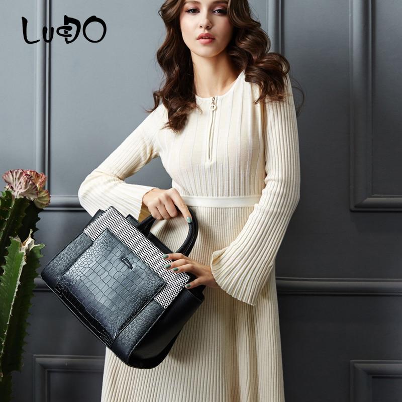 LUCDO Luxury Snake Shoulder Bags Designer Handbags Fashion Serpentine Pattern Leather Women Bag Ladies High Quality Tote Bag