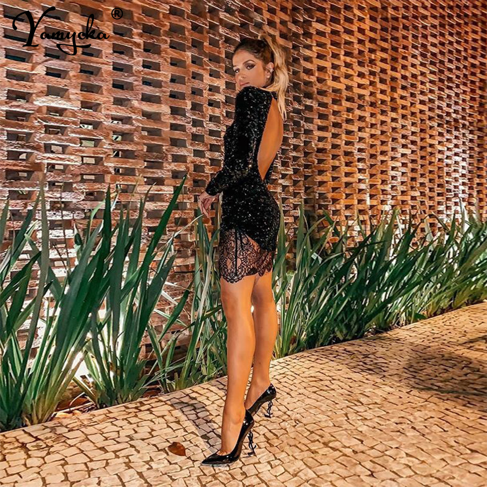 Summer Sexy Black Lace Backless women Dress elegant vintage perspective Night club Luxury Party dresses Vestido clothes 2020 New|Dresses| - AliExpress