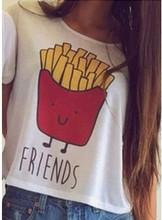 Hamburg Chips Top Best Friends Female T Shirt Summer Women Fashion Casual O Neck Short Sleeve Printed Ladies T-shirt