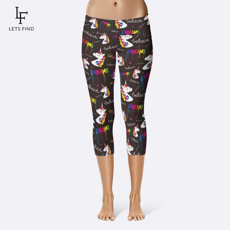 LETSFIND Fashion Cartoon Unicorn Printing Women Fitness Capri Leggings High Waist Plus Size Elastic Slim Mid-Calf Leggings
