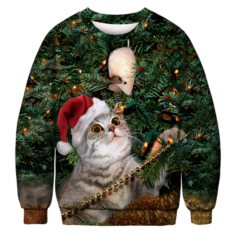 2019 Unisex Men Women Ugly Christmas Sweater For Holidays Santa Christmas Funny Cat Sweater Autumn Winter Xmas Clothing