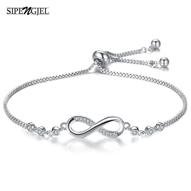 SIPENGJEL Fashion Cubic Zirconia Silve Color Infinity Bracelets Simple Korean Style Bracelets For Women Wedding Jewelry Gifts