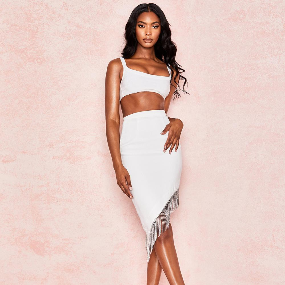 Women Two Piece <font><b>Set</b></font> <font><b>Tassel</b></font> Sexy Party 2019 Autumn Winter Clothing Crop <font><b>Top</b></font> Midi <font><b>Skirt</b></font> 2 Piece <font><b>Set</b></font> Outfits Women Matching <font><b>Sets</b></font> image