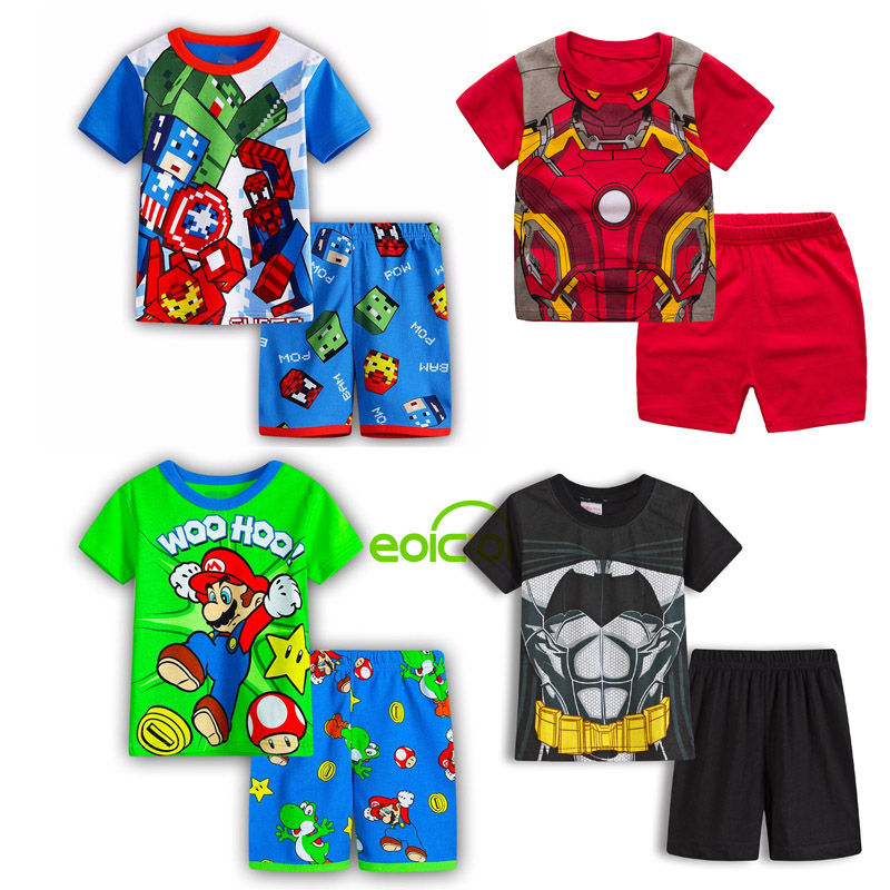 2020 NEW Kids Boys Girls Short Sleeve Pajamas Set Cute Animal Cotton Nightwear Children Sleepwear Clothing Baby Pyjamas 1-7Y