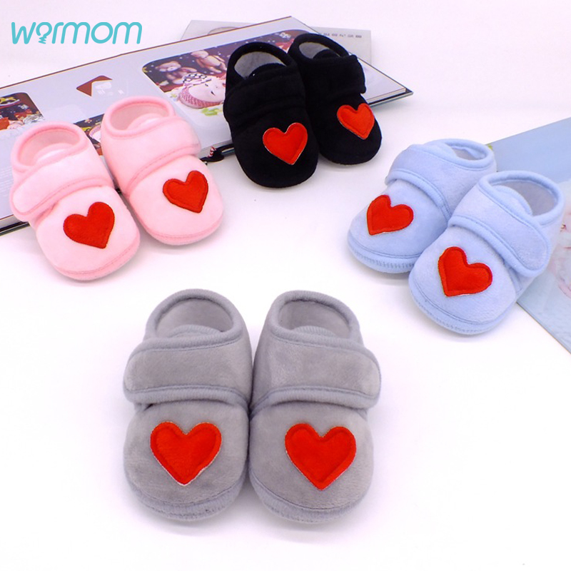 Warmom Newborn Baby Socks Shoes Toddler Love Heart First Walkers Plush Cotton Comfort Soft Anti-slip Warm Infant Crib Shoes