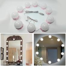 Make up Spiegel Eitelkeit Led lampen Kit USB Lade Port Kosmetische Beleuchteten Birne Beruf Make Up Spiegel Helligkeit Lichter D43
