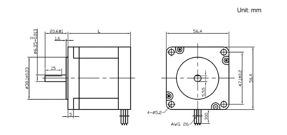 H229b7a7bcb0441f19edbcb3e00a4a13e4 - YOULASER Leadshine 3 Phase Stepper Motor 573S09-L-18 for NEMA23 3.5A Length 50mm Shaft 6.35mm