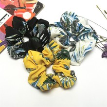 Hair Scrunchie coconut palm print Ring Elastic Bobble Sports Dance Rope Rubber Bands Accessories