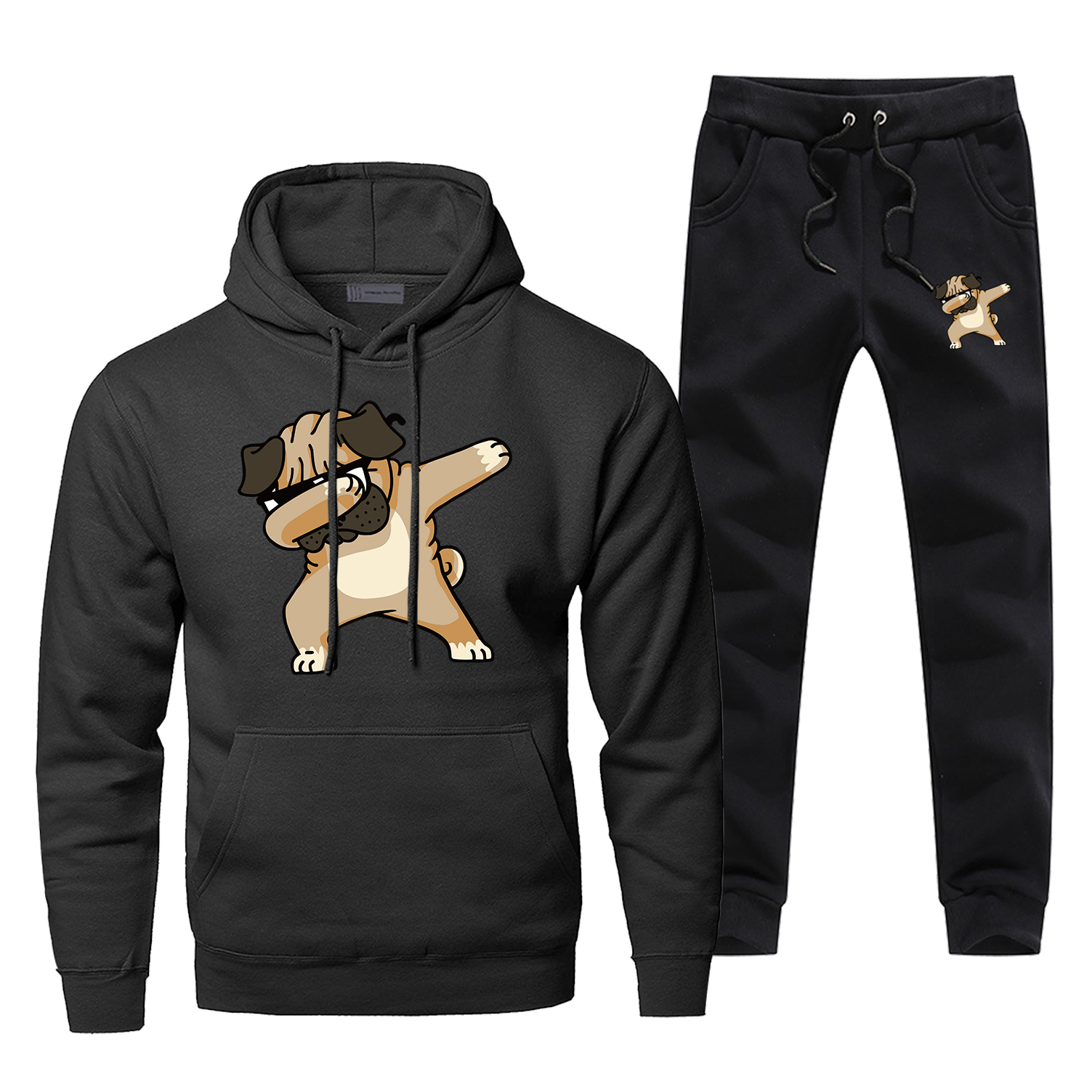 Hip Hop Dog Funny Print Hoodies Mens Set Fashion Casual Streetwear Animal Complete Man Tracksuit Winter Fitness Sweatshirtpants