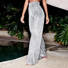 DICLODU spodnie dorywczo moda srebrne spodnie z wysokim stanem Harajuku Streetwear spodnie szerokie nogawki damskie ubrania damskie tanie tanio DICLOUD Poliester Akrylowe Poliamid Pełnej długości CN (pochodzenie) Wiosna jesień YL-2019-20 Stałe High Street Szerokie spodnie nogi