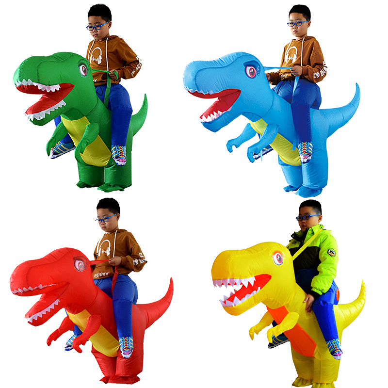 Adult Kids Inflatable Costume Halloween Dragon Dinosaur Cosplay T-Rex Fancy Dress Children Ride On Dino Purim Costumes
