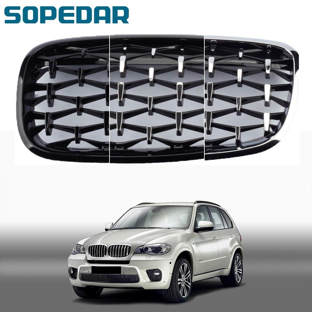 Автомобильная решетка для радиатора Diamond Star, передний гоночный гриль для BMW X5 X6 E70 E71 2006 2007 2008 2009 2010 2011 2012 2013 в стиле метеорита