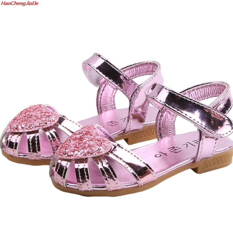 Children Summer Shoes Girls Rome Leather Sandals Baby Girls Toddler Kids Sequins Shoes Hollow Princess Girl Beach Shoes