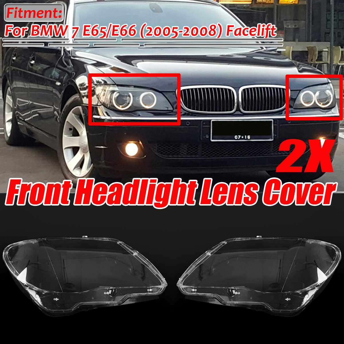 E65 / E66 Car Front Headlight Headlamp Lens Cover Shell 4769886123 For BMW 7 E65 E66 LCI 2005-2008 Headlight Lense Cover Trim