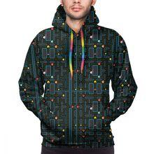 NOISYDESIGNS Fashion Mens Hoodies 2019 Spring Autumn Male Casual Sweatshirts Pacman Retro Video Game Sweatshirt Tops