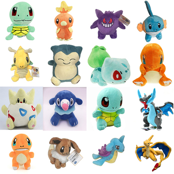 cute Charmander Squirtle Bulbasaur Clefairy Ditto eevee Flareon Jolteon Gengar Vaporeon Kawaii plush doll WJ157 1pcs 12 15cm anime cartoon charmander squirtle bulbasaur clefairy ditto metamon plush toys soft stuffed dolls 5 styles