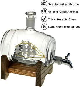 Image 2 - 1000ml Creative ימי חבית צורת האדום יין ויסקי זכוכית בקבוק יין לגין בר מטבח מסיבת חג המולד מתנה