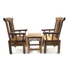 Mesa de té Vintage para casa de muñecas a escala 1 12 con 2 sillones, juego para casa de muñecas DIY, fabricación de escenas de vida