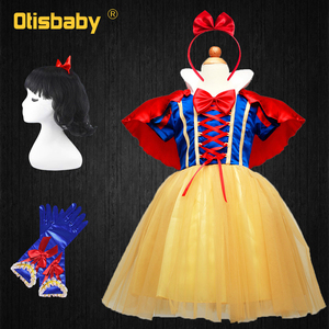 OTISBABY 4 layers Snow White Cosplay Dresses for Girls Party Princess Dress Children's Tulle Dress Baby Girl Tutu Dress Infant(China)