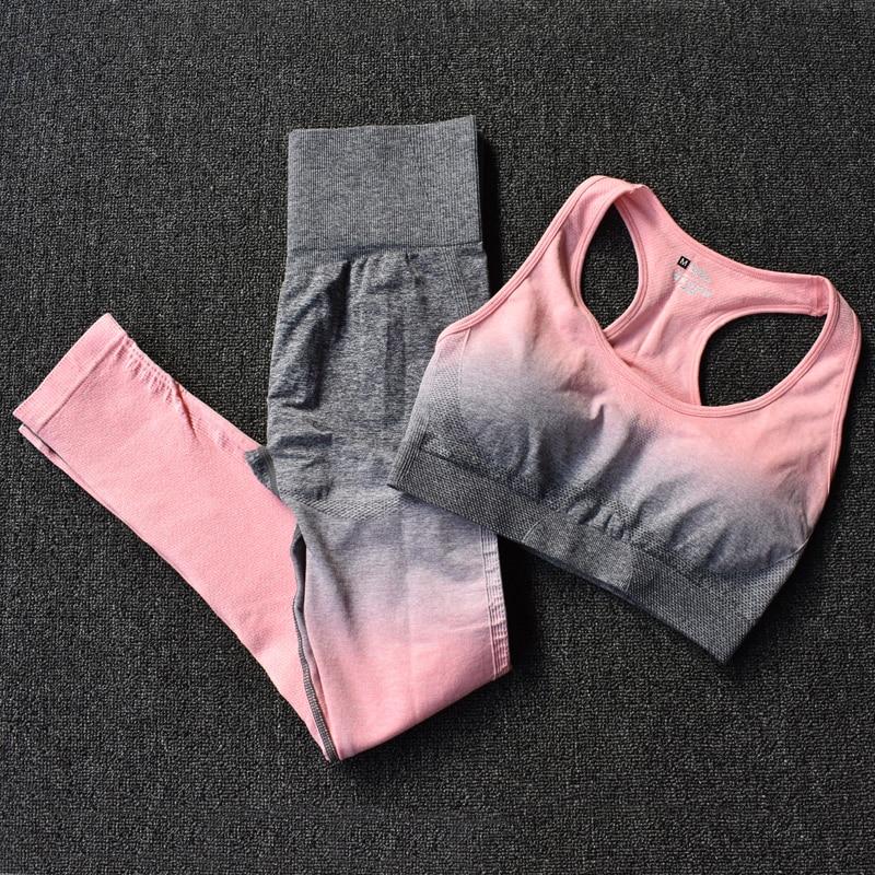 BraPantsPink2 - Women's Sportwear Seamless Fitness Gradient Yoga Set