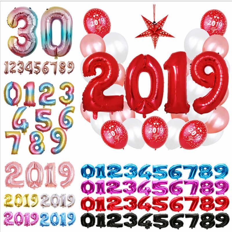 32 polegada Rosa Vermelha Número Balão de Hélio Foil Balões de Ar Aniversário Figuras Feliz Festa De Aniversário Decoração Crianças Brinquedos Balões Balon