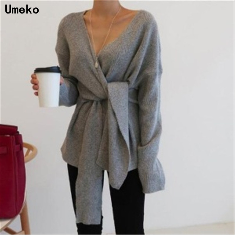 Umeko Fashion New Sweater Women Autumn Winter Ladies Solid Long Sleeve V-Neck Bandage Tie Sweater Fall Womens Oversized Pullover
