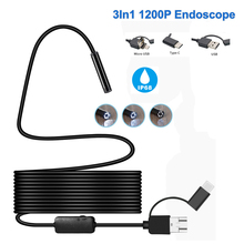 1200P 3in1 USB Endoscope Borescope Camera 7mm Lens HD Waterproof IP68 Soft Wire Pipeline Endoscopic PC Android Camera