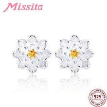 MISSITA 100% 925 Sterling Silver White Lotus Flower Daisy Earrings For Women Jewelry Brand Wedding Stud Earring Gift