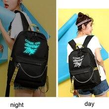 Winmax Luminous USB Charge Women Backpack Fashion Letters Print School Bag Teenager Girls Ribbons Backpack Mochila Sac A Dos