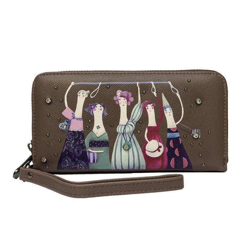 Women Wallets With Zipper Phone 11 Pocket Purse Card Bag  Cartoon Image  Women Long Wallet Lady Tassel Short Coin Purse