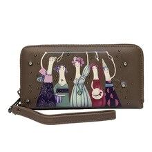 Women Wallets with Zipper Phone 11 Pocket Purse Card bag  Cartoon image Long Wallet Lady Tassel Short Coin