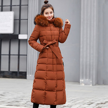 Winter Jackets women 2019 New X-long Slim big fur hooded Parkas coat with Sashes -25 degrees wear for female M-3XL