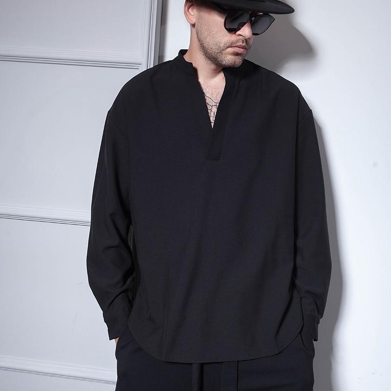 헤어 스타일리스트 나이트 클럽 hipster 특대 느슨한 v 넥 긴 소매 셔츠 대형 라운드 세트 탑 롱 남성 셔츠